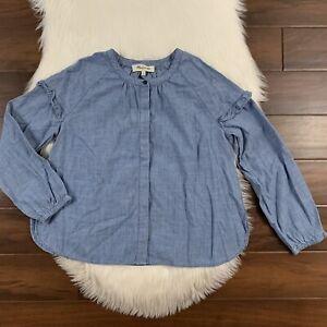 Madewell Women's Size Small Blue Denim Collarless Ruffle Sleeve Shirt Top