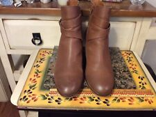 Lucky Brand Size 10M Brown Ankle Zip Accent Heeled Booties Ankle Boots Leather