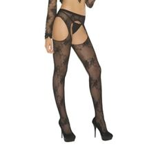 Lace Suspender Pantyhose New Adult Womens Sexy Valentine Black Queen Size