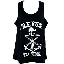 PSYCHOBILLY Anchor SKULL Tank Top BLACK Rockabilly TATTOO Refuse To Sink Large