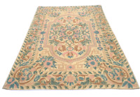 French Style Aubusson Rug 4x6 Wool Vintage Handmade Carpet Needlepoint Area Rug