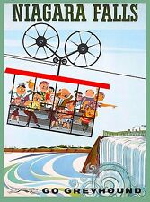 Niagara Falls New York Greyhound Bus United States Travel Advertisement Poster 2