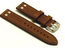 22mm Brown Quality Double Rivet Style Crazy horse Leather Watch Strap For Men's