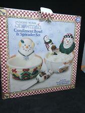 Debbie Mumm Snowman Condiment Bowl & Spreader Set NIB