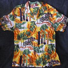 "Vintage ""Thums up for him"" motorcycle print Hawaiian shirt"
