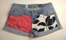 Volcom Stone Womens Blue Denim Cut Off Shorts Size 1 Sound Check Cuff Low Rise