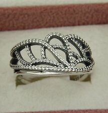 """Pandora """"butterfly wing"""" ring with clear cz's 190937cz size 5.25 Sterling ALE"""