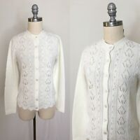 Vintage 60s White Cozy Knit Cardigan Size Small