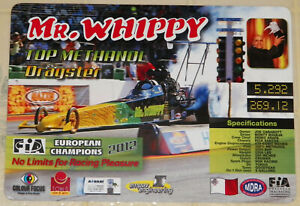 """2012 UNITED KINGDOM ISSUE """"MR. WHIPPY"""" TOP METHANOL DRAGSTER DRAG RACING HANDOUT"""