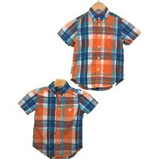 Chaps 5 Twin Boys Shirts Button Down Plaid Print Short Sleeve Orange Blue Green