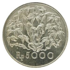 Indonesia - Silver 5000 Rupiah - 'Orangutan' - 1974 - AU