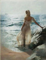 ZOPT568 hand painted long dress girl portrait by sea oil painting art canvas
