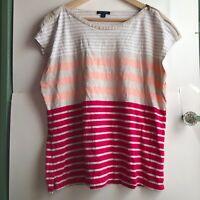 TOMMY HILFIGER Plus Tan Pink Beige White Striped Short Sleeve Zipper Tee Top 2X
