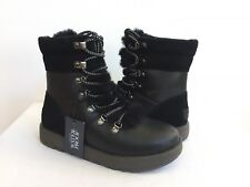 UGG VIKI WATERPROOF BLACK EXPOSED SHEARLING LACE UP Boot US 6 / EU 37 / UK 4.5