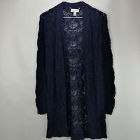 Susan Graver Cotton Acrylic Open Front Sweater Cardigan Navy XS A303336
