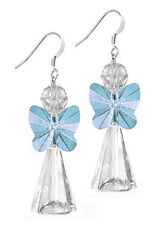STERLING SILVER 925 & SWAROVSKI CRYSTAL EARRING KIT, AQUAMARINE BLUE ANGEL
