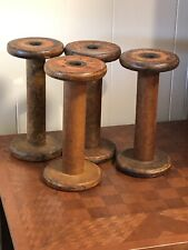 "Cool Large Vintage Wooden Wood Spools (4) - 8 1/4"" x 4"""