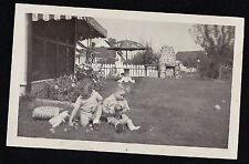 Vintage Antique Photograph Two Adorable Babies Playing With Toys in Yard