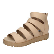 scarpe donna FRANCESCO MILANO 39 sandali beige pelle sintetica BY56-D