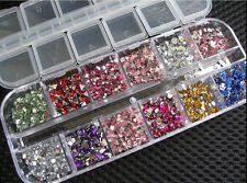 3600x2mm New Nail Art Rhinestones Glitters Acrylic Gems Tips Decor Manicure Case
