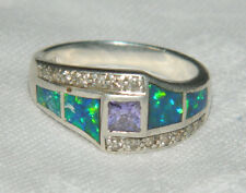 Solid Sterling Silver ring with amethyst AND BLUE FIRE OPAL INTARSIO TAGLIA O 1/2