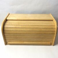 Vintage Wood Bread Box Tambour Rolltop Farmhouse Countertop Office