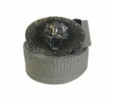"Men's Gray Canvas Tiger Head Buckle 40"" Adjustable Belt"