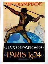 "Olympic Poster 31.5""x 23.25"" (80 x 59 cm) LARGE Size reproduction 1924 Paris"