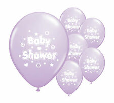 "10 x Baby shower lilac 12"" helium or air fill balloons baby boy/ girl decoration"