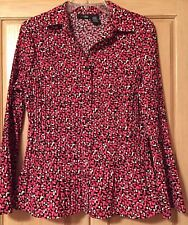 East 5Th Stretch Bell Sleeve Top Fuchsia/Black/White Size Petite L  NWOT