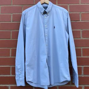 Mens Ralph Lauren Blue Grey Long Sleeve Shirt Size Extra Large -- L/G