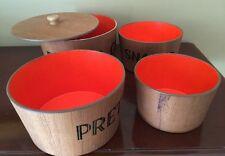 Vtg 50s Nesting Set 4 Wood Snack Bowls Potato Chips Pretzels Nuts Snacks Orange