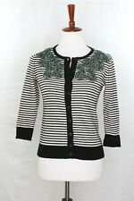 Anthropologie Tabitha Womens S stripe moss cardigan sweater Rare Floral Stitched