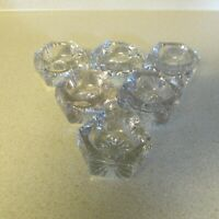 VINTAGE LOT OF 6 CLEAR GLASS SALT CELLARS HEXAGON STARBURST!