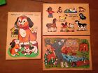 Fisher Price Vintage Wooden Peg Puzzles Lot 3 Animals Babies Farm Dog Puppies
