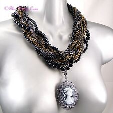 Stunning Large Chunky Braided Multi Beaded Vintage Chic Cameo Ribbon Necklace BN