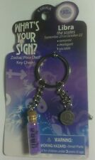 LIBRA SCALES WHAT'S YOUR SIGN ? ZODIAC PIXIE DUST GLASS VIAL KEY CHAIN KEYCHAIN