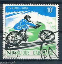 GABON 1976, timbre 362, MOTOCYCLETTE, 125 SUZUKI, oblitéré
