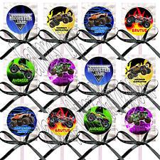 Monster Truck Monster Jam Lollipops with Black Ribbon Bows Party Favors -12 pcs