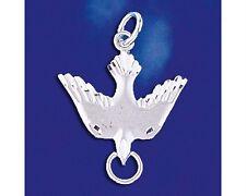 Sterling Silver Peace Dove Pendant Bird Diamond Cut Italian Charm Solid 925 New