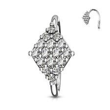DIAMOND SHAPE Hoop Nose EAR Helix Cartilage Auricle Daith Orbital RINGS Earrings