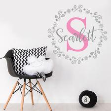 Personalizar inicial Vivero Habitación Flores bebé niña etiqueta del vinilo Pegatina Decoración Mural