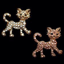 Niedliche goldfarbene Brosche Katze, weiße oder beigefarbene Kristalle zur Wahl