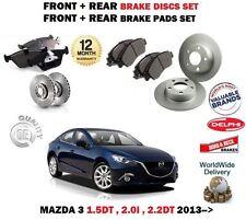 FOR MAZDA 3 BM 1.5DT 2.0 2.2DT 2013-> FRONT + REAR BRAKE DISCS SET + PAD KIT