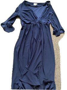 Asos Size 16 Navy Blue Wrap Style Ruffled Dress