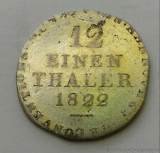 1822 German States Hannover 1/12 Thaler .437 Silver Coin