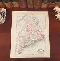 Original 1894 Antique Map MAINE Biddeford Lewiston Portland Auburn Alfred Paris