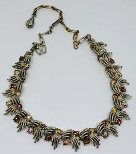 Vintage Corocraft Necklace Gold Tone Articulated Links Smoky Aurora Borealis