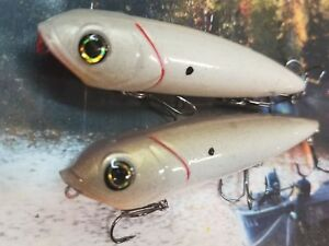 TWO REACTION INNOVATION  VIXEN  CUSTOM PAINTED TOPWATER FISHING PURE BONE SHAD