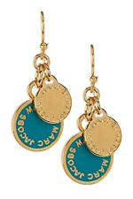 MARC BY MARC JACOBS EARRINGS! Enamel Logo Disc Drop Earrings in WINTERGREEN! NWT